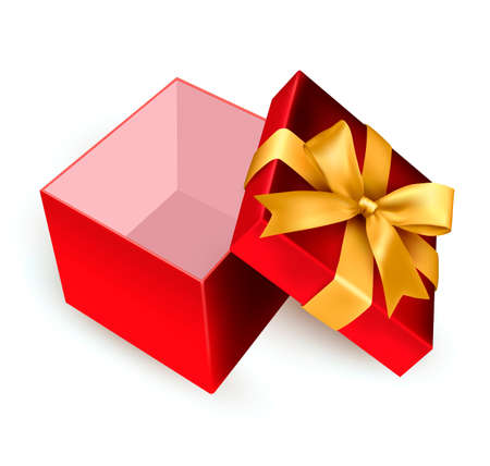 Open red gift box with golden ribbon. Vector illustration. Stock Vector - 16462250