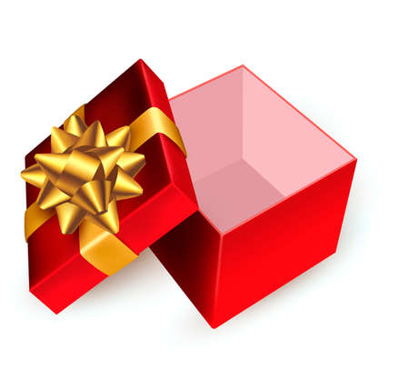 Open red gift box with golden ribbon. Vector illustration. Stock Vector - 16462252