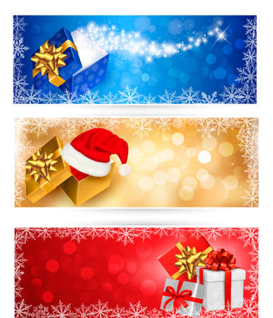 Three christmas banners with gift boxes and snowflakes. Vector illustration. Stock Vector - 16462276