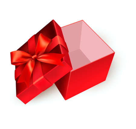 red gift box: Open red gift box with golden ribbon. Vector illustration. Illustration