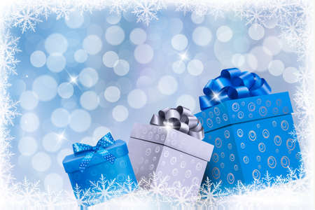 magic box: Christmas blue background with gift boxes and snowflakes. Vector illustration.