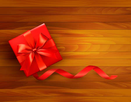 Holiday background with gift box and red bow. Vector illustration.  Vector
