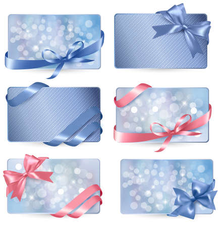 greeting card backgrounds: Set of colorful Gift cards with gift bows with ribbons  Illustration