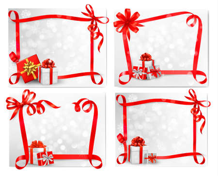 Set of holiday backgrounds with red gift bow with gift boxes. illustration. Vector