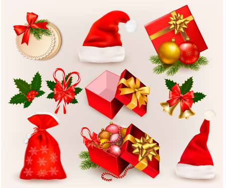 Big set of Christmas icons and objects. illustration. Vector