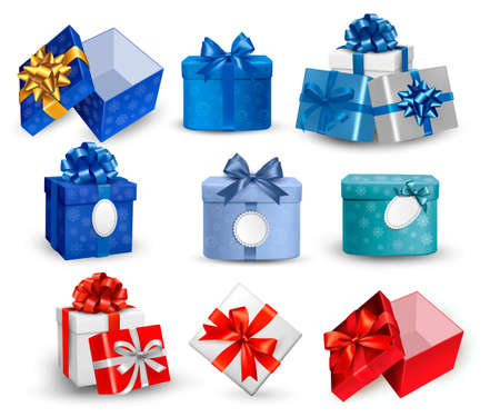 blue box: Set of colorful gift boxes with bows and ribbons.  illustration.