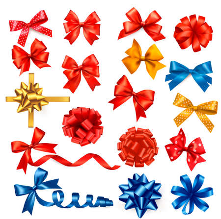 Big collection of color gift bows with ribbons. illustration.