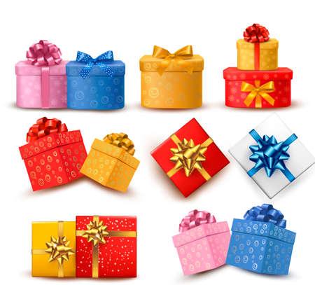 Colección de cajas de regalo de color con lazos y cintas. ilustración.