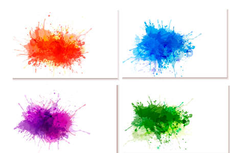 watercolor paper: Collection of colorful abstract watercolor banners. Illustration