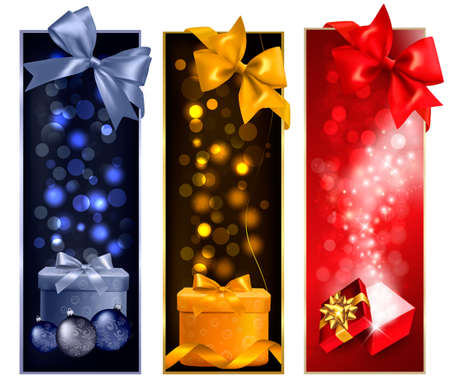 desember: Three christmas banners with gift boxes and snowflakes.  illustration.