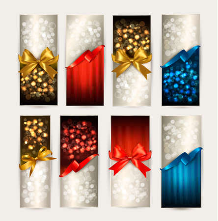 greeting card: Set of colorful Gift cards with gift bows with ribbons. Vector