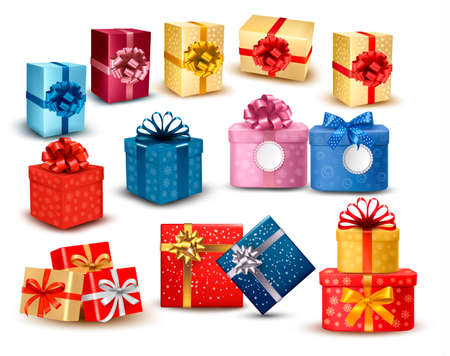 Set di scatole regalo colorate con fiocchi e nastri. Illustrazione vettoriale.