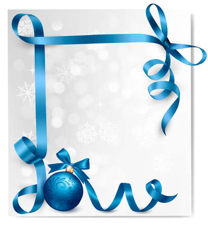 Holiday background with blue gift bow with gift ball. Vector illustration.