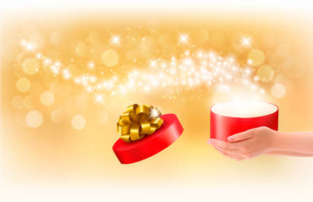 gold woman: Christmas background with gift magic box. Concept of giving presents. Vector.