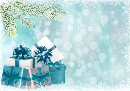 Christmas blue background with gift boxes and snowflakes. Vector illustration. Stock Vector - 16697055