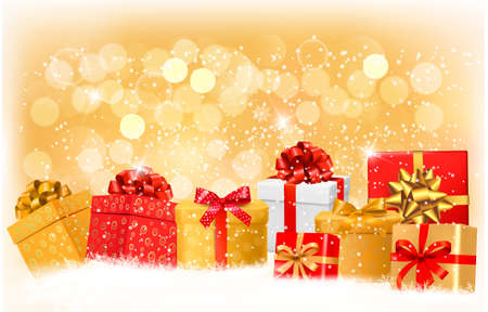 desember: Christmas background with gift boxes and snowflakes. Vector illustration.