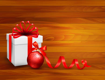 Holiday background with gift box and red ball. Vector illustration.  Vector