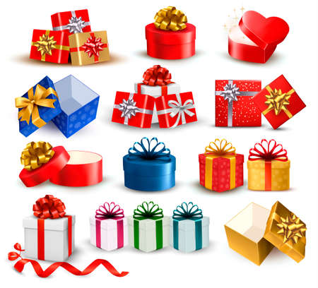 blue box: Set of colorful gift boxes with bows and ribbons  Vector illustration