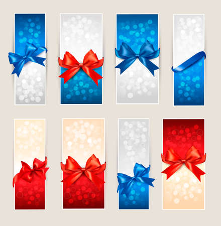 blank gift tag: Set of colorful Gift cards with gift bows with ribbons  Vector