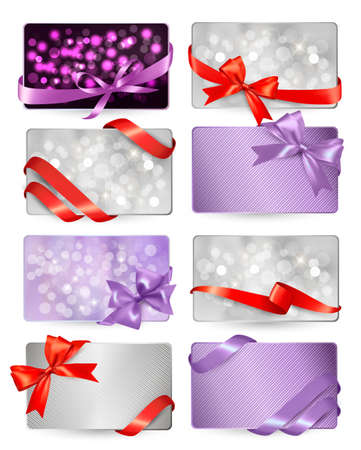 Set of beautiful gif cards with red gift bows with ribbons Vector  Vector