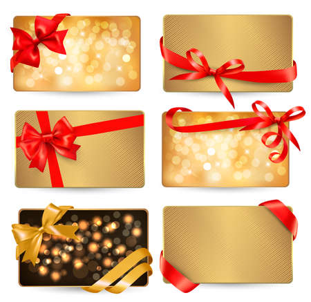gif: Set of beautiful gif cards with red gift bows with ribbons Vector  Illustration
