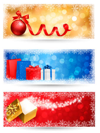 desember: Three christmas banners with gift boxes and snowflakes  Vector illustration