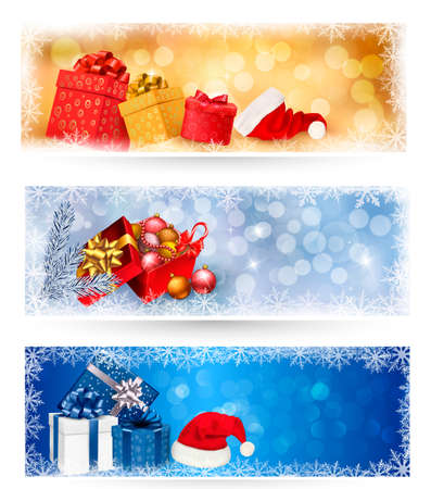 Three christmas banners with gift boxes and snowflakes  Vector illustration Stock Vector - 16697082
