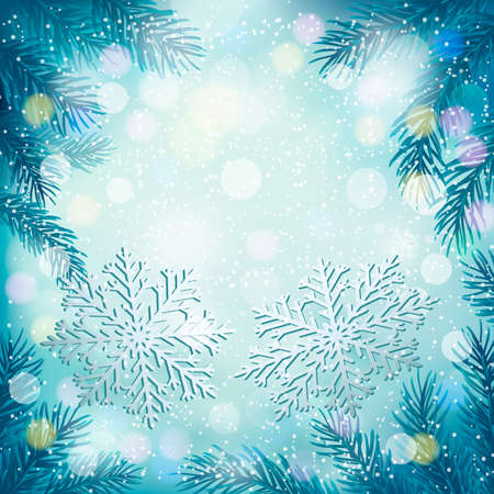 desember: Christmas blue background with christmas tree branches and snowflakes. Vector illustration.