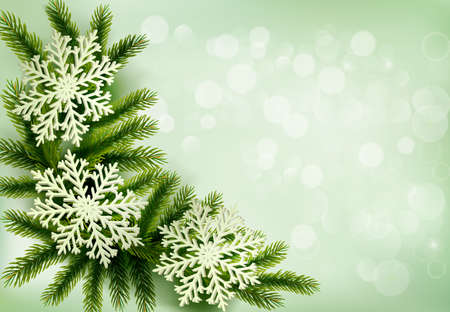 Christmas green background with christmas tree branches and snowflakes. Vector illustration. Stock Vector - 16824551