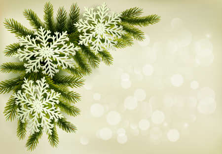 Christmas retro background with christmas tree branches and snowflakes. Vector illustration.  Vector