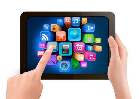 Main tenant pc tablette tactile et le doigt de toucher son écran avec des icônes. Vecteur.