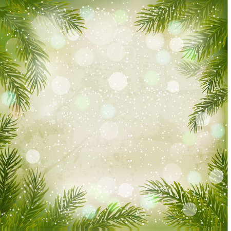 christmas cards: Christmas retro background with christmas tree branches and snowflakes. Vector illustration.