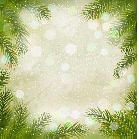 motivos navideños: Navidad fondo retro con las ramificaciones del árbol de navidad y copos de nieve. Vector ilustración. Vectores