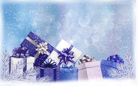desember: Holiday blue background with gift boxes and tree branches.  Illustration