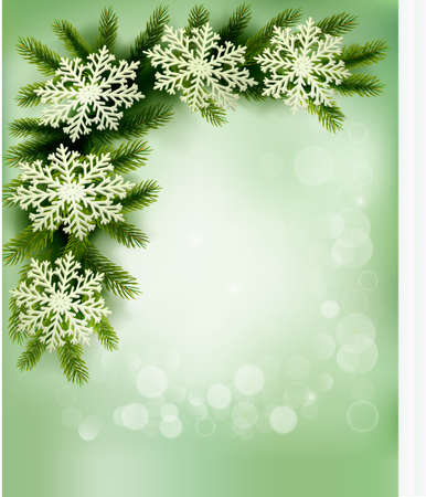 desember: Christmas retro background with christmas tree branches and snowflakes.  Illustration
