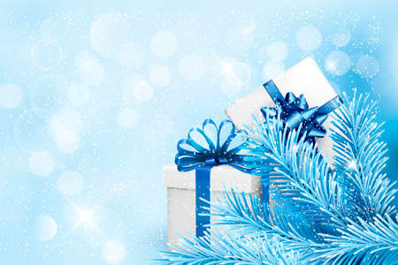 desember: Holiday blue background with gift boxes and tree branches. illustration. Illustration