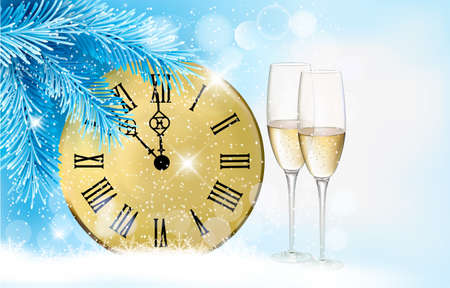champagne celebration: Holiday blue background with champagne glasses and clock . illustration.
