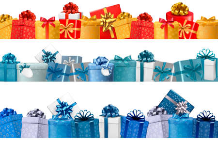 Collection of holiday banners with colorful gift boxes with bows. illustration
