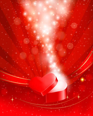 Valentine`s day background with open red gift box with bow and ribbons.  Vector