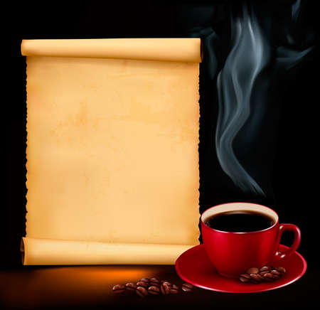 Background with cup of coffee and old paper. Vector Stock Vector - 17187983