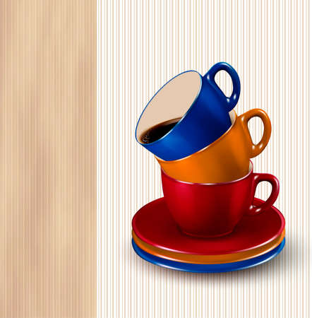steaming: Background with colorful cups of coffee. Coffee design template. Vector