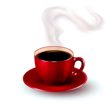 red cup: Perfect red cup of coffee with steam. Vector illustration.
