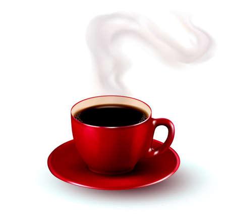 chicchi caff� su sfondo bianco: Perfetta tazza rossa di caff� con vapore. Illustrazione vettoriale.