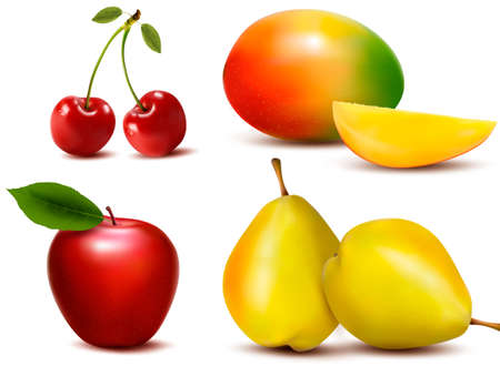 Group of fresh colorful fruit. Vector.  Vector