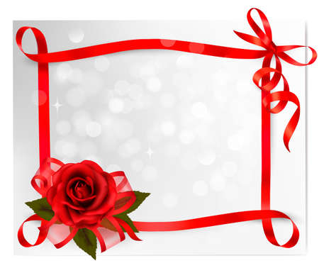 Valentine`s day background. Red rose with gift red bow Vector