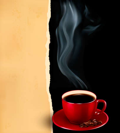 Background with cup of coffee and old paper. Vector Vector