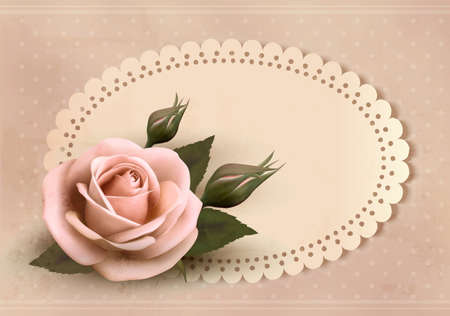 rose frame: Retro greeting card with pink rose