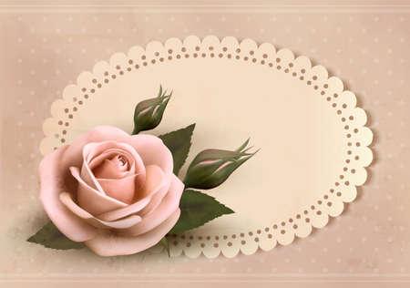 single rose: Retro greeting card with pink rose