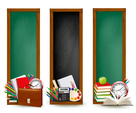 apple border: Back to school. Three banners with school supplies. Vector.