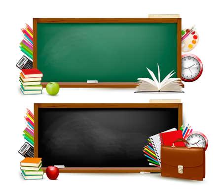 fournitures scolaires: Retour � l'�cole. Deux banni�res avec des fournitures scolaires. Vecteur.